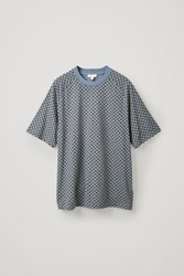 Cos Checked Cotton T Blue