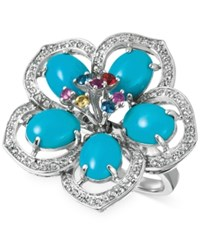 Le Vian Robin's Egg Turquoise 4 9 10 Ct. T.W. And Multi Sapphire 5 8 Ct. T.W. Flower Ring In 14K White Gold
