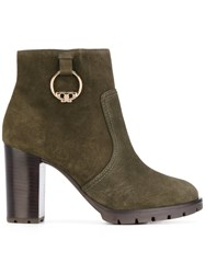 Tory Burch Heeled Boots Leather Rubber 10.5 Green