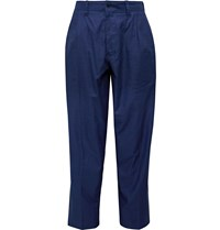 Blue Blue Japan Tapered Pleated Cotton Twill Suit Trousers Blue