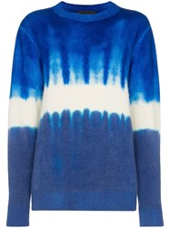The Elder Statesman Tie Dye Cashmere Jumper Blue