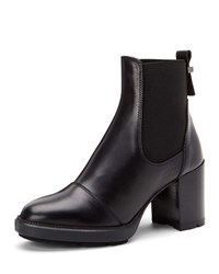 Aquatalia By Marvin K Ivory Leather Ankle Boots With Rubber Platform Black
