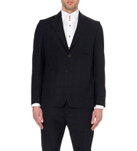 Vivienne Westwood Startooth Embroidered Suit Jacket Navy