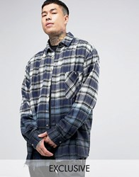 Reclaimed Vintage Oversized Checked Flannel Shirt In Dip Dye Navy