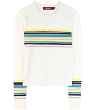 Sies Marjan Striped Alpaca And Cashmere Sweater White