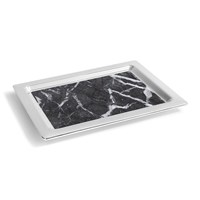 Anna New York Dual Tray Carnico Marble Silver