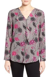 Women's Halogen 'Waterfall' Blouse Grey Floral Print