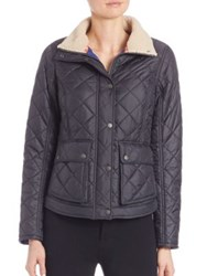 Barbour Cushat Faux Fur Collar Quilted Jacket Navy