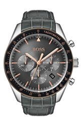 Boss Trophy Chronograph Leather Strap Watch 44Mm Grey