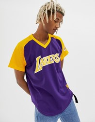Mitchell And Ness La Lakers Mesh V Neck T Shirt In Purple