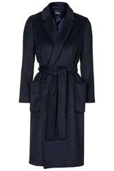 Topshop Petite Belted Wool Blend Coat Navy Blue
