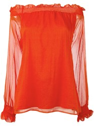 P.A.R.O.S.H. Off Shoulders Sheer Blouse Red