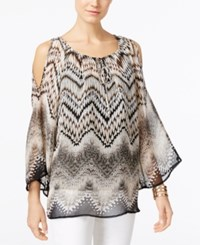 Alfani Printed Cold Shoulder Peasant Blouse Only At Macy's Zig Zag Mosaic