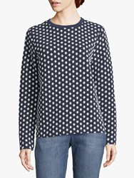 Betty And Co. Dot Print Textured Jumper Blue White
