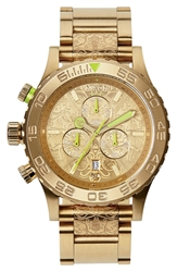 Nixon 'The 42 20 Chrono Ornate' Watch Gold Neon Yellow Beetlepoint