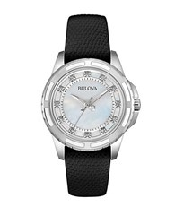 Bulova Diamond And Black Leather Strap Watch