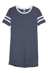 Alternative Apparel Stadium Eco Jersey T Shirt Dress Eco True Navy Eco White