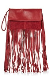 Topshop Leather And Suede Fringe Clutch Burgundy