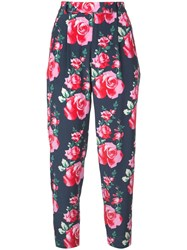 Fleur Du Mal Tapered Floral Print Trousers Blue