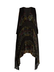 Marco De Vincenzo V Neck Floral Panelled Pleated Dress Black Multi