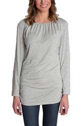Udderly Hot Mama Women's 'Luxe' Long Sleeve Nursing Tee Heather Gray