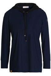 Monreal London Perforated Stretch Hooded Sweatshirt Navy