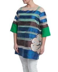 Marina Rinaldi Half Sleeve Striped Floral Long Tunic Women's