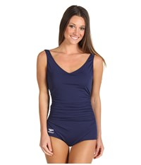 Speedo Side Shirred Tank One Piece Nautical Navy Women's Swimwear