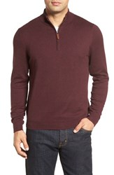 Nordstrom Men's Big And Tall Men's Shop Half Zip Cotton And Cashmere Pullover Burgundy Fudge Heather