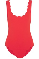 Marysia Palm Springs Scalloped Swimsuit Red