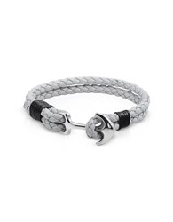 Forzieri Men's Bracelets Light Gray Leather Men's Bracelet W Anchor