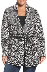 Foxcroft Plus Size Women's Belted Fringe Shawl Collar Cardigan