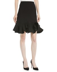 Valentino A Line Crepe Couture Knee Length Skirt With Ruffle Hem Black