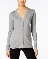Lacoste V Neck Cardigan Asphalt Grey Chine