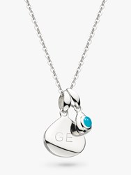 Kit Heath Personalised Sterling Silver Pebble And Tag Birthstone Pendant Necklace Turquoise December