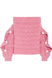 Hellessy Dorian Off The Shoulder Cable Knit Wool Sweater Pink