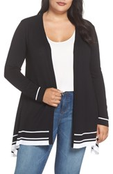 Evans Plus Size Tipped Handkerchief Hem Open Cardigan Black