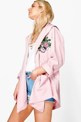 Boohoo Alisha Embroidered Lightweight Parka Rose