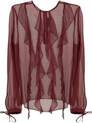 Thomas Wylde Frill Trim Sheer Blouse Pink And Purple