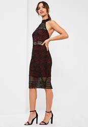 Missguided Burgundy Lace High Neck Midi Dress