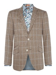 Simon Carter Men's Windowpane Check Thornhill Jacket Taupe
