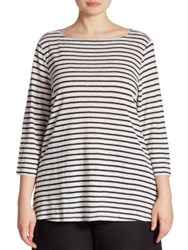 Eileen Fisher Striped Organic Linen Tunic White Black