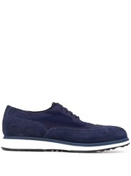 Santoni Embroidered Low Top Sneakers Blue