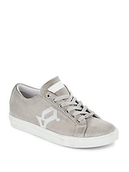 Galliano Suede Leather Low Top Sneakers Grey