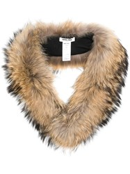Max And Moi Long Fur Collar Nude And Neutrals