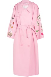 Vivetta Floral Embroidered Woven Cotton Trench Coat Pink