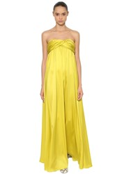 Rochas Strapless Silk Satin Long Dress Lime Green