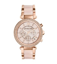 Michael Kors Parker Rose Gold Tone Blush Acetate Watch