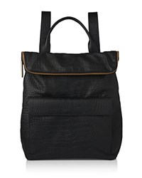 Whistles Verity Croc Embossed Leather Backpack Black Gold