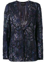 Giorgio Armani Sequin Embellished Jacket Women Silk Cotton Polyamide Viscose 42 Blue